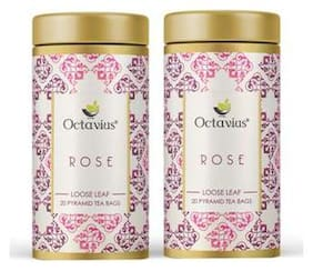 Octavius Rose Green Tea Loose Leaf - 20 Pyramid Bags (Pack of 2)
