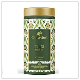 Octavius Tulsi Chamomile Fennel Green Tea Loose Leaf- 75 g (35 Cups) Immunity Boost and Soothing Sleep tea   Superior Loose Leaf Flavour Experience   All Natural Blend   No artificial flavors