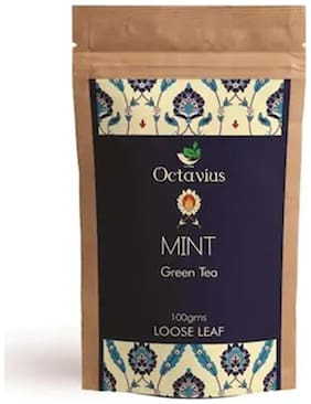 Octavius Whole Leaf Mint Green Tea - 100 g (40 Cups*) in ZipLock Pouch, Low Caffeine Energizing tea, Boosts Immune System