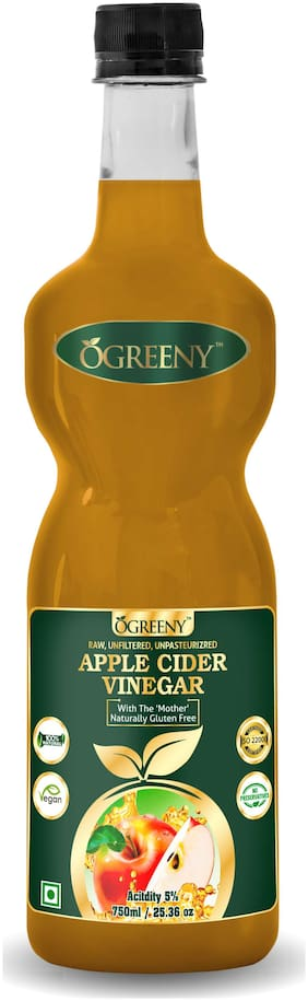 Ogreeny Apple Cider Vinegar 750 ml - With Mother Vinegar, Raw, Unfiltered & Undiluted