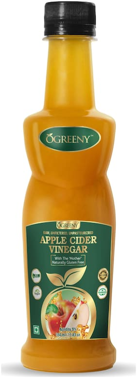 Ogreeny Apple Cider Vinegar 350 ml - With Mother Vinegar, Raw, Unfiltered & Undiluted