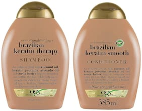 OGX Ever Straightening Brazilian Keratin Therapy Shampoo & Conditioner Combo, Coconut Oil, Keratin Proteins, Avocado Oil, Cocoa Butter, For Dry, Curly, Frizzy,Fine hair, Sulfate Free 385 ml