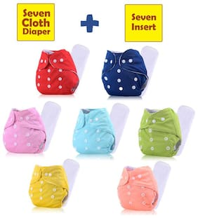 ohwish Adjustable Size Reusable Baby Pocket Cloth Diapers With Inserts Combo Pack (7 Multicolor Diaper + 7 Insert)