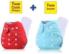 ohwish Adjustable Size Reusable Baby Pocket Cloth Diapers With Inserts Combo Pack (2 Multicolor Diaper + 2 Insert)