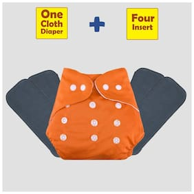 ohwish Adjustable Size Reusable Baby Pocket Cloth Diapers With Grey Inserts Combo Pack (1 Orange Diaper + 4 Insert)