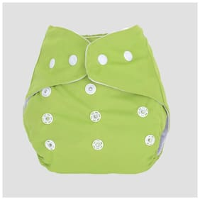 Ohwish Adjustable Size Reusable Baby Potty Cloth Diapers (1 Green Diaper )
