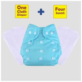 ohwish Adjustable Size Reusable Baby Pocket Cloth Diapers With White Color Inserts Combo Pack (1 Sky Blue Diaper + 4 Insert)