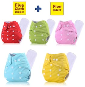 ohwish Adjustable Size Reusable Baby Pocket Cloth Diapers With Inserts Combo Pack (5 Multicolor Diaper + 5 Insert)