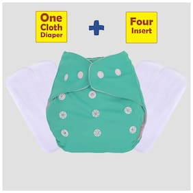 ohwish Adjustable Size Reusable Baby Pocket Cloth Diapers With White Color Inserts Combo Pack (1 Green Diaper + 4 Insert)