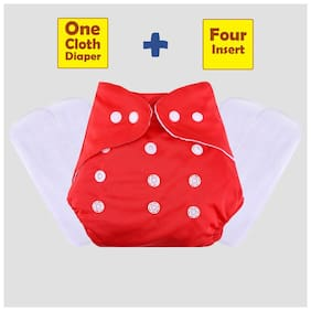 ohwish Adjustable Size Reusable Baby Pocket Cloth Diapers With White Color Inserts Combo Pack (1 Red Diaper + 4 Insert)