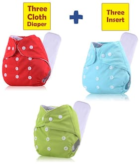 ohwish Adjustable Size Reusable Baby Pocket Cloth Diapers With Inserts Combo Pack (3 Multicolor Diaper + 3 Insert)