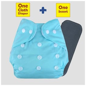 ohwish Baby Pocket Cloth Diapers Reusable Cloth Diapers Washable Adjustable Cloth Diapers With Charcoal Insert (1 Sky Blue Diaper+1 Charcoal Insert)