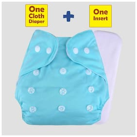 Ohwish Baby Pocket Cloth Diapers Reusable Cloth Diapers Washable Adjustable Cloth Diapers(1 Sky Blue Diaper+1 Insert) Pack of 1