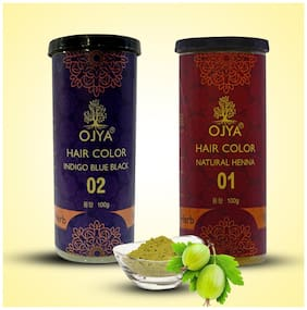 OJYA 100%Natural Hair Color Red Brown  & Indgo Blue Black Powder Cane( EACH 100g )(Packof 2)