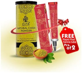 OJYA 100% Organic Hair Color Cassia Powder Cane 100g & FREE RAPID RED HENNA TUBE (pcs of 2)