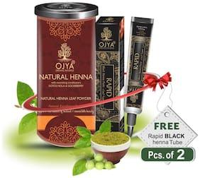 OJYA 100% Natural Hair Color Natural Henna Powder Cane 100gm FREE RAPID BLACK HENNA TUBE (Pcs of 2)