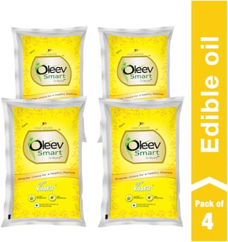 Oleev Smart - Enriched With Vitamin A  D  E & K  1 L (Pack of 4)