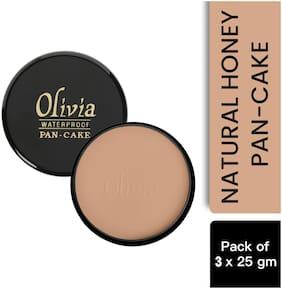 Olivia 100% Waterproof Pan Cake Natural Honey Makeup Concealer 25g;Shade No.24 - Pack of 3