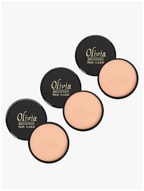 Olivia 100% Waterproof Pan Cake Almond Dust Makeup Concealer 25g;Shade No.26 - Pack of 3