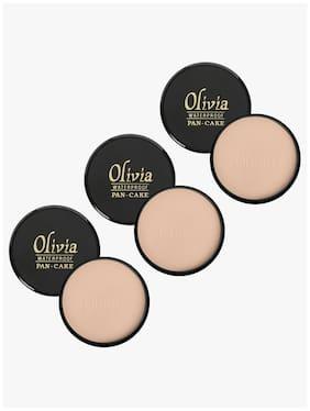 Olivia 100% Waterproof Pan Cake Dark Beige Makeup Concealer 25g;Shade No.28 - Pack of 3