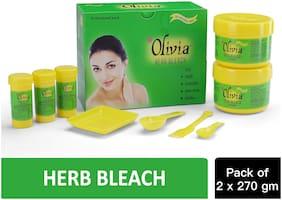 Olivia Herb Bleach For Sensitive Skin With Haldi Chandan Aloe Vera Nimbu Bleach Cream (112.5gx4);Activator (15gx6) (Pack of 2)