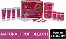 Olivia Skin Lightening Natural Fruit Bleach Bleach Cream (127gx4);Activator (12gx6);Enhancer (12gx6);Serum (12gx6) (Pack of 2)