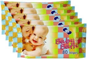 Om Skincare Baby Wipes With Aloe Vera-400 Pcs ( Pack of 5 )