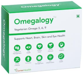 Curae Health Omegalogy Vegetarian Omega 3,6,9 (60 Tablets) Supports Heart, Brain, Skin & Eye Health