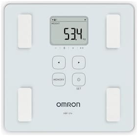 Omron HBF 214 Digital Full Body Composition Monitor with 4 User & Guest Mode Feature to Monitor BMI  Body Age  Vesceral Fat Level  Body Fat & Skeletal Muscle Percentage (White)