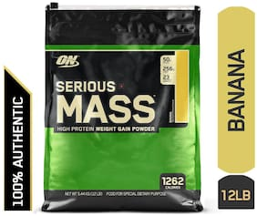 ON (Optimum Nutrition) Serious Mass Weight Gainer Powder - 5.44 kg (12 Lb) (Banana)