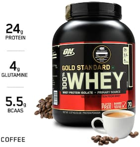 ON (Optimum Nutrition) Gold Standard 100% Whey Protein Powder - 5 lbs, 2.27 kg (Coffee), Primary Source Isolate