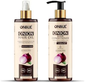 Onbue Onion Hair Oil for Strengthening Roots & Hair Fall Control with Red Onion Oil Extract & Onion Hair Conditioner for Hair Fall Control & Dandruff Control for Shinier & Lustrous Hair 200 ml Each