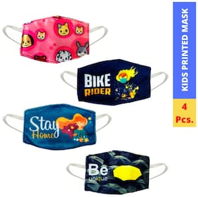 One Frame Retail Kids Printed Double Layer Washable Cotton Mask (Pack of 4)
