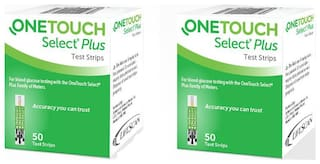 OneTouch Select Plus Simple 50 Strips, Pack of 2 , Blood Glucose
