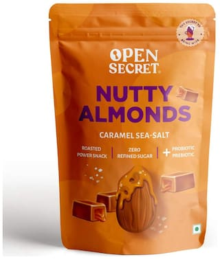 Open Secret Sea Salt Caramel Almonds Flavored Nuts Perfect Healthy Snacks 135g (Pack Of 1)