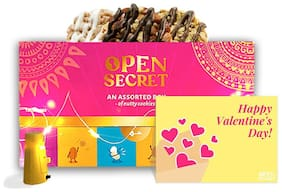 Open Secret Valentine Gift Box- Healthy Chocolate Cookies with Nuts,No Added Maida,1 Assorted Gift Box(12 Cookies),Personalized Card,1 Festive Light 150g (Pack Of 1)