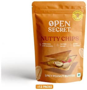 Open Secret Nutty Chips Spicy Peanut Butter with Supergrains 30 g (Pack of 12)