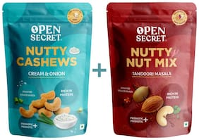 Open Secret Cream and Onion Flavour Cashew and Tandoori Masala Flavour Pack of 2 -135 g each