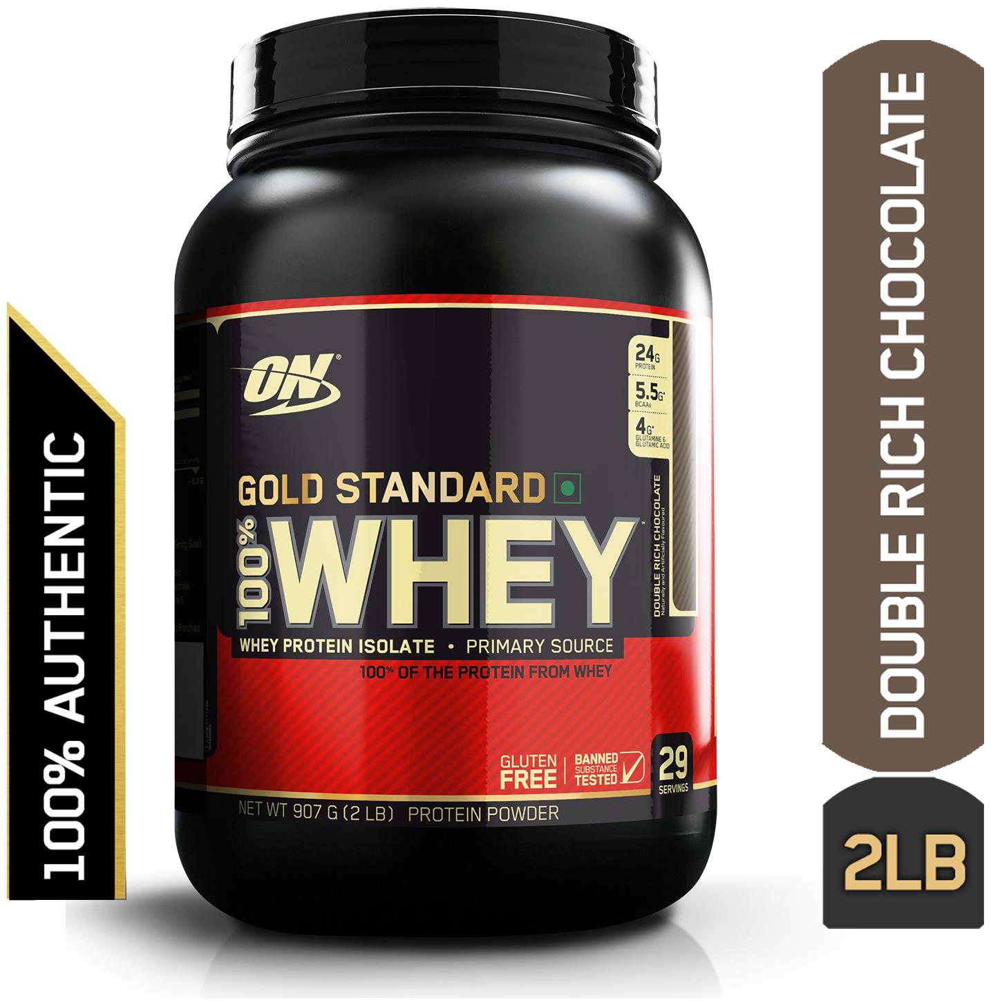 Optimum Nutrition  On  Gold Standard 100% Whey Protein Powder   0.90 kg  2 lb   Double Rich Chocolate