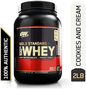 Optimum Nutrition (On) Gold Standard 100% Whey Protein Powder - 0.90 kg (2 lb) (Cookies & Cream)