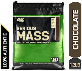 Optimum Nutrition (ON) Serious Mass Weight Gainer Powder - 5.44 kg (12 Lb) (Chocolate)