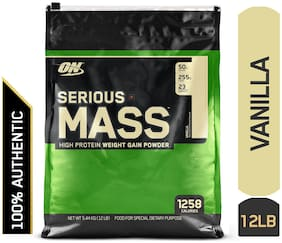 Optimum Nutrition (ON) Serious Mass Weight Gainer Powder - 5.44 kg (12 Lb) (Vanilla)
