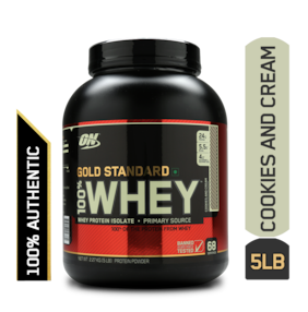 Optimum Nutrition (On) Gold Standard 100% Whey Protein Powder - 2.27 kg (5 lb) (Cookies & Cream)