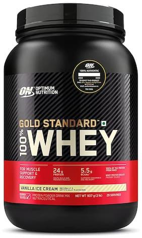 Optimum Nutrition (On) Gold Standard 100% Whey Protein Powder - 0.90 kg (2 lb) (Vanilla Ice Cream)