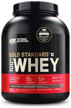 Optimum Nutrition (On) Gold Standard 100% Whey Protein Powder - 2.27 kg (5 lb) (Double Rich Chocolate)