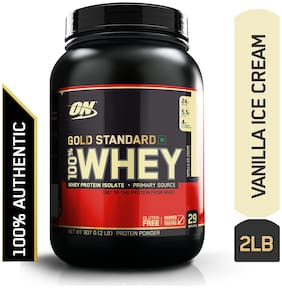 Optimum Nutrition (On) Gold Standard 100% Whey Protein Powder - 0.90 kg (2 lb) (Vanilla Ice Cream)