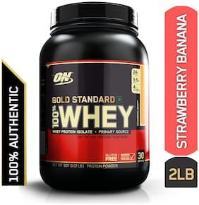 Optimum Nutrition (On) Gold Standard 100% Whey Protein Powder - 0.90 kg (2 lb) (Strawberry Banana)