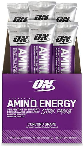 Optimum Nutrition (ON) Essential Amino Energy Sticks Pack- Pack of 6 (Concord Grape)