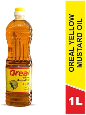 Oreal 100 % Pure Yellow Mustard Oil for Helps Blood Circulaion (Oil for All Ages) 1L