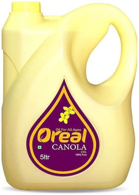 Oreal 100% Pure Canola Oil For All Ages Rich in Omega -3 Preservative Free Cooking Oil-5 L